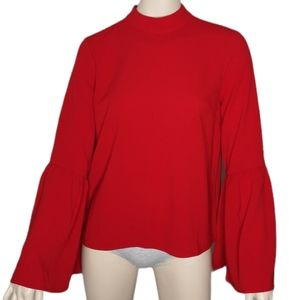 Urban Outfitters Bell Sleeve Mock Neck Blouse Top